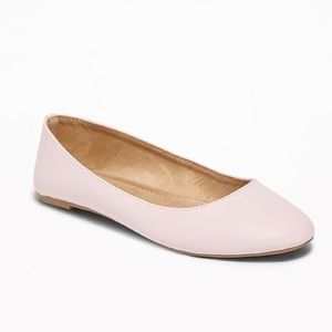 NWT Blush Faux Leather Ballet Flats